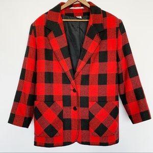 VINTAGE Red & Black Buffalo Plaid Blazer Jacket